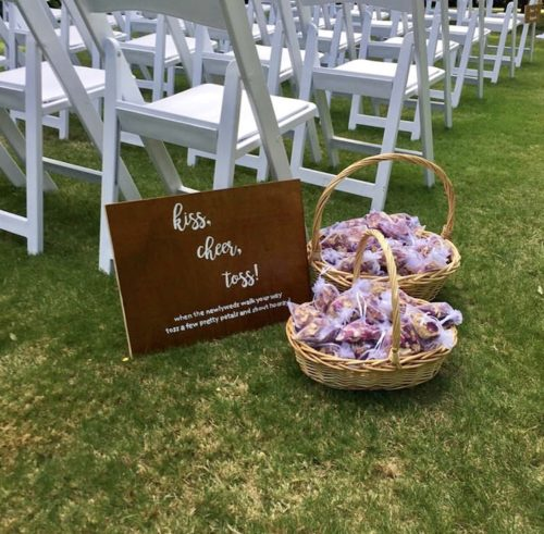 Confetti baskets at a wedding at Pemberton Gardens
