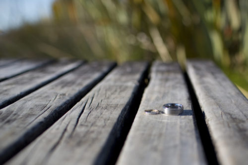 Wedding rings on a wharf