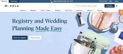 Zola wedding website.