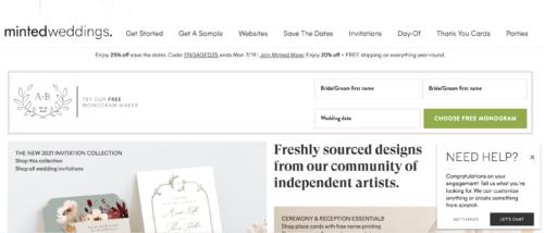 Minted wedding website.