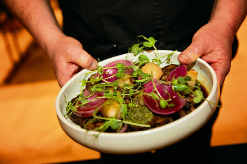 Locally grown and sustainably produced salad