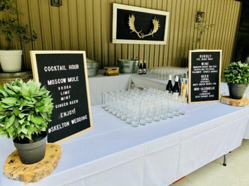 Wedding drinks set up