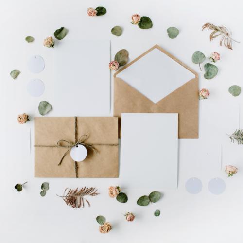 Natural cardstock wedding invitation