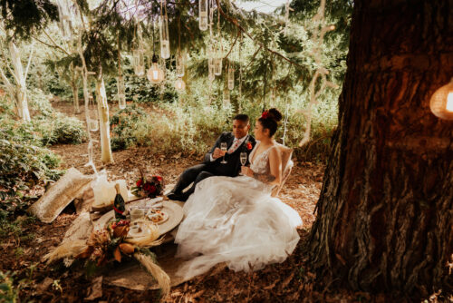 Bride and groom at luxury picnic in the forest