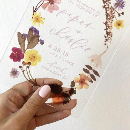 Pressed flower wedding invite